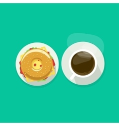 Coffee cup with donut sandwich top view vector image vector image
