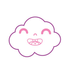 Color line happy and cute cloud kawaii weather vector