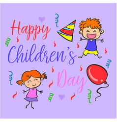 Doodle childrens day funny style vector