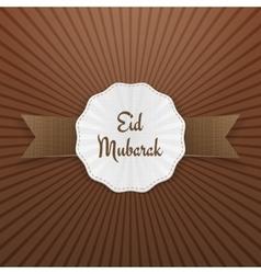 Eid mubarak greeting tag with ribbon vector