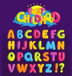 font in the cartoon style childhood vector image vector image