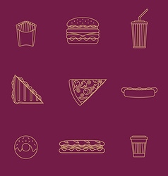 gold outline various fast food icons collection vector image
