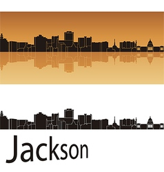 Jackson skyline in orange background vector image
