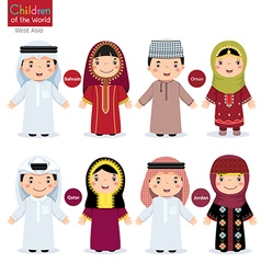 Kids in different traditional costumes Bahrain vector image vector image