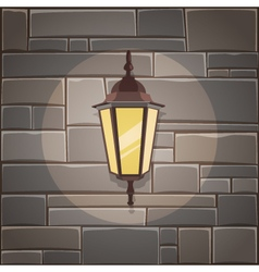 Lantern On The Stone Wall vector image