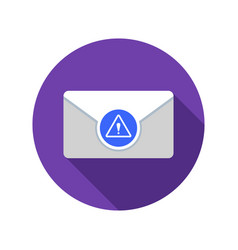 Mail warning icon email icon with long shadow vector