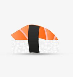 One isolated nigiri sushi with salmon simple icon vector