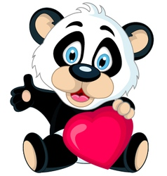 panda cartoon holding love heart vector image