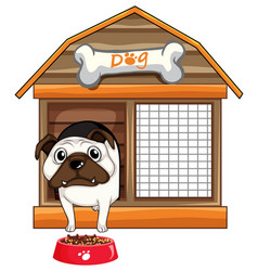 Pug dog in dog house vector