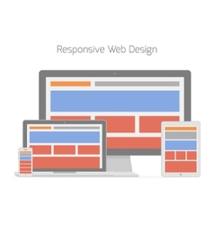 Responsive web design in different electronic vector image vector image