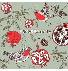 Retro pomegranate pattern vector