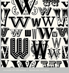 seamless vintage pattern letter W vector image vector image