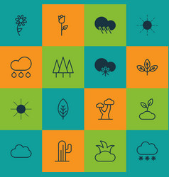 Set of 16 ecology icons includes snowstorm cloud vector