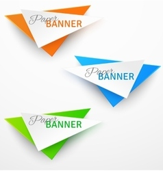Set of triangular colorful paper origami banners vector image