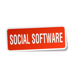 Social software square sticker on white vector