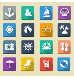 Summer Sea Vacation Icons vector image