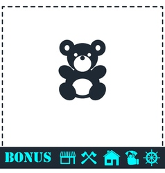 Teddy bear icon flat vector