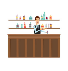 the man at the bar flat and cartoon style on a vector image