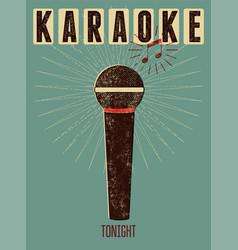 typographic retro grunge karaoke poster vector image