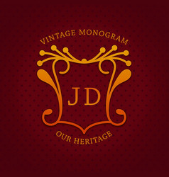 vintage monogram template design vector image