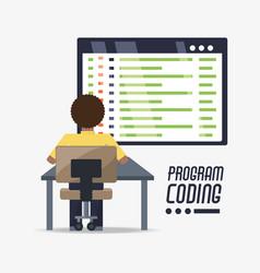 Web developer working on computer programming vector