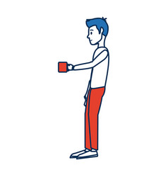 young man standing holding coffee cup break vector image vector image