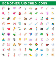100 mother and child icons set cartoon style vector image vector image