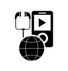 Mp3 player and earth globe diagram icon vector