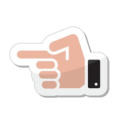 Pointing hand icon as label vector