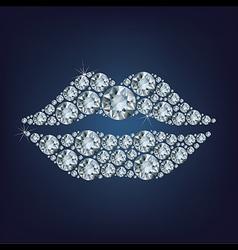 Lips shape made up a lot of diamond vector