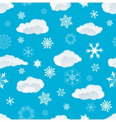 Snowflakes and clouds vector