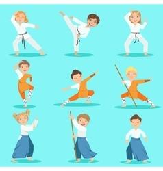 Children On Martial Arts Practice vector image