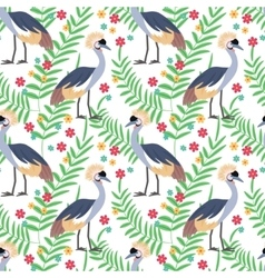 Crowned crane seamless pattern background vector