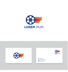 Logo design elements with business card template vector