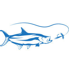 Tarpon fish and lure design vector