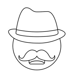 Hat and mustache design vector