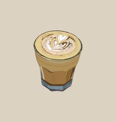 Hot coffee with latte art sketch vecrtor vector
