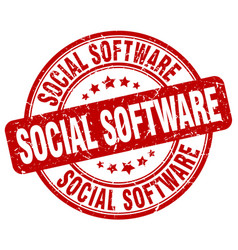 Social software red grunge stamp vector