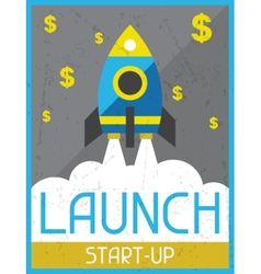 Launch start-up retro poster in flat design style vector