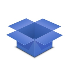 Open blue box on white vector