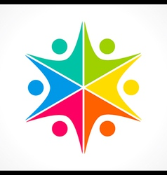 Creative colorful teamwork icon design concept vector