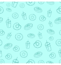 Donut and milkshake seamless background vector