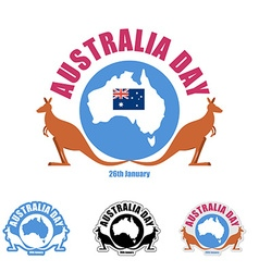 Australia day logo for holiday Kangaroo and map of vector image