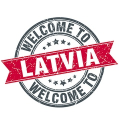 Welcome to latvia red round vintage stamp vector