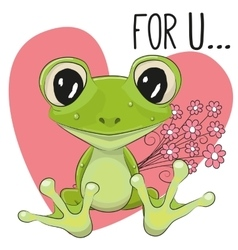Froggy with flowers vector