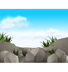 Nature scene with rocks and sky vector