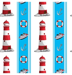 A seamless design with lighthouses and other vector image