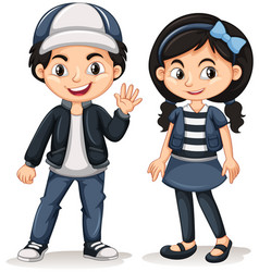 Asian boy and girl waving hello vector