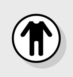 Baby clothes sign flat black icon in vector