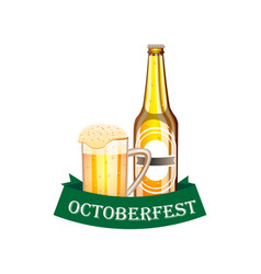 beer festival poster with bottle and a glass of vector image